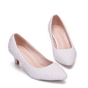 New Beautiful White Pearls Women Pumps Punta a punta Elegante Lady Wedding Shoes Handmade Lady Heels Plus Size