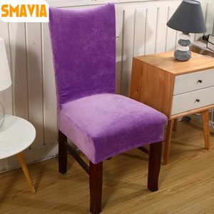 2pcs  Lot Spandex Velvet Dining Chair Cover 100 %Polyester Solid Anti -Dirty Chair Cover Decoration Home Hotel Part Case