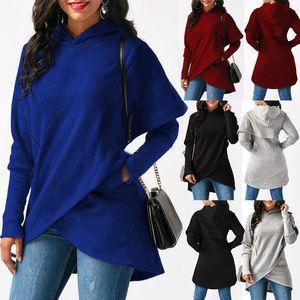 Mujeres Solid Sudaderas Camisetas Camisetas Algodón Irregular Suéter Damas Manga Larga Suéter Maternidad Tops TO786