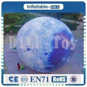 الشحن مجانا إضاءة الصمام 4 أمتار نفخ البالون القمر تخصيص نموذج كوكب قابل للنفخ مع ضوء لتزيين حزب