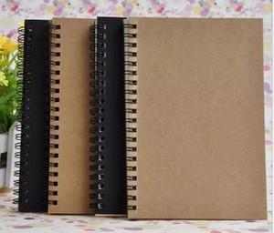 Portable Kraft paper Business Block notes black sketch sketch Spiral Notebook 100 fogli journal quaderni ufficio scolastico fornitori DHL Free