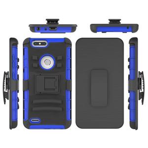 Vendita calda per ZTE Z982 Cassa del telefono Due strati Hybrid Armor Hard Cover con custodia per cavalletto integrata per ZTE Blade Z MAX