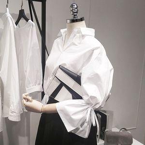 Nuovo casuale delle donne di base di autunno di estate camicetta superiore camicia bianca del lavoro di usura Bandage allentato Big Size