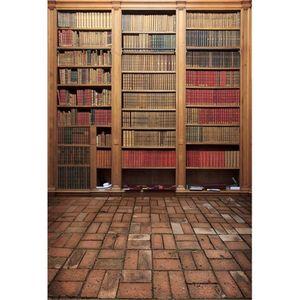 Graduation Season Vintage Bookshelf Fotografía de fondo Digital Libros impresos Niños Niños Photo Studio Backgrounds Piso de ladrillo