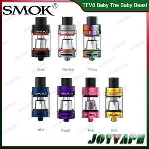 Autêntico SMOK TFV8 Tanque Do Bebê A Besta Do Bebê 3mL Com Bobina de Substituição Q2 T8 Sistema de Fluxo de Ar Ajustável Top Atomizador de Enchimento 100% Original