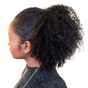 4B 4C الأفرو غريب مجعد ذيل الحصان النفخة الطبيعية كليب في 100 ٪ الانسان الشعر البرازيلي العذراء منتجات الشعر ريمي الشعر اللون الطبيعي 120G