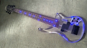 GB-84 Custom OEM 7 Strings Bass Guitar Limited Edition Clear Acrylic Body Rosewood fingerboard inlay Blue LED lamp free shipping