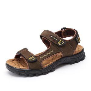 Homens casuais sandálias de praia artesanal de couro genuíno verão sapatos de costura retro clássicos homens moda calçado Zapatos Hombre