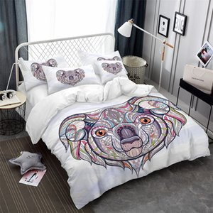 Lovely Koala Print Bedding Set Colorful Animal Duvet Cover Set Patchwork Striped Bed Cover Pillowcase US AU RU Size Bed
