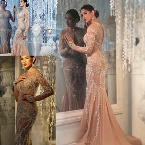 Chapmagne с длинным рукавом вечерние вечерние платья 2018 скромные аппликации кристаллы серебра Алмода gianninaazar Русалка повод платья
