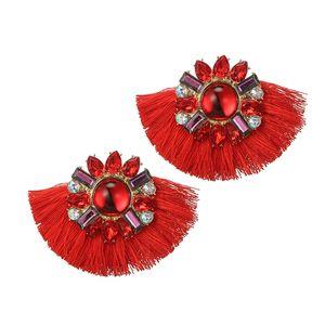 Boho Fleur Tassel Dangle Boucles d'oreilles pour les femmes fille Fan coloré strass Fringe Pendants d'oreilles Bijoux Parti Brincos 6422