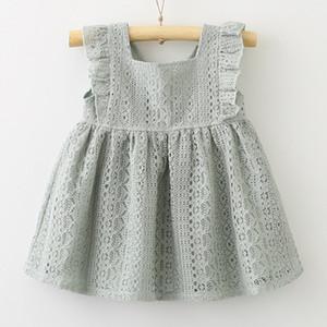 Verão menina vestido de princesa laço folha de lótus fivela vestido de bebê princesa boutique roupas desgaste infantil