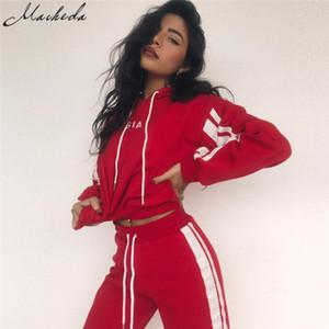 Nouveau Automne 2 Piece Set Survêtement Femmes Sportswear Casual Blanc Rouge Pantalon De Jogging À Capuche Court Sweat En Gros À Capuche