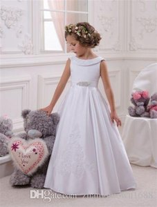 Elegante erste heilige Kommunion Pageant Kleid für Mädchen mit Ärmeln Kinder Abschlusskleid Kleid Gown Govestido de Daminha
