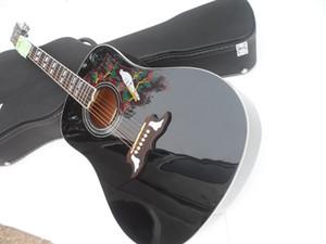 Hard Case ile Gitar !!! DOVE Ladin Üst GARANTİLİ Doğa Ahşap Siyah Akustik Gitar Ücretsiz Kargo