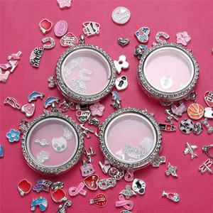 Único 30 mm tornillo redondo flotante encanto medallones de aleación de cristal magnética memoria de vida Locket colgante que se puede abrir joyería DIY