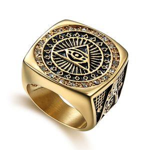 2018 Nuovi uomini speciali unici di disegno dell'acciaio inossidabile Massone massonico sigillo anello AG gioielli emblema all'ingrosso