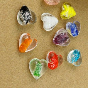 Coração bonito encantos Lampwork de vidro soltas Spacer Bead para o bracelete 12MM FOLHA fazer jóias