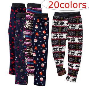 20Style Xmas Girls Slim Plus Pantaloni caldi di velluto Collant Leggings Pantaloni Bambini Natale Fiocco di neve Calze calde Pantaloni Pantaloni Vestiti per bambini