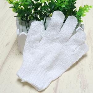белый нейлон чистка тела душ перчатки отшелушивающий ванна перчатки пять пальцев ванна перчатки