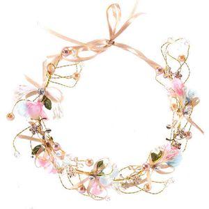 Joyería del pelo para los accesorios de la novia de la perla cristalina delicada de la hoja de metal tiaras de la boda de Corea del tocado de la venda del pelo nave de la gota