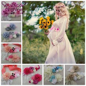 Fiore pizzo fascia elastica Con nuove ragazze donne Sash Set chiffon incinta Donne Ragazze cintura Sash Sash Maternity puntello della foto