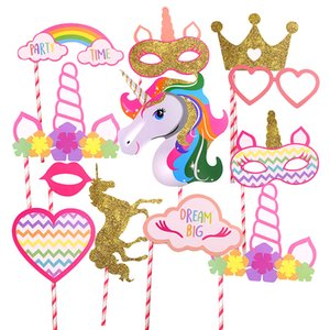 12 PCS / Pack Glitter Unicorn Photo Booth Puntelli Kids Birthday Party Decoration Baby Shower Centrotavola PhotoBooth