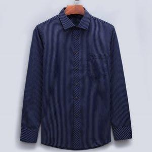 새로운 플러스 대형 아시아 크기 남성 비즈니스 캐주얼 긴 소매 폴리 에스테르 섬유 셔츠 클래식 스트라이프 남성 사회 드레스 셔츠