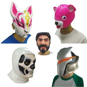 Latex Maske Kuscheln Team Leader Maske Cosplay Lustige Tier Rosa Bär John Wick Reaper Schlacht Royale Masken Halloween Party Requisiten