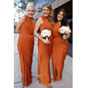 Burnt Orange Bridesmaid Dresses 2017 One Shoulder Draped Dress Long Maid Of Honor Dresses With Split