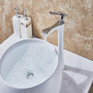 Becken Wasserhähne Weiß Lackiert Wasserfall Wasserhahn Einlochmontage Einhand Becken Wasserhahn Kristall Griff Silber Mischbatterie