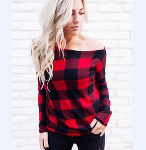 Frauen weg von der Schulter Plaid-Oberseiten-Hülsen-Sommer Hemd Beiläufige Bluse-loses T-Shirt Roter Buffalo Checkered Druckdesigner T-Shirts DHL-Schiff