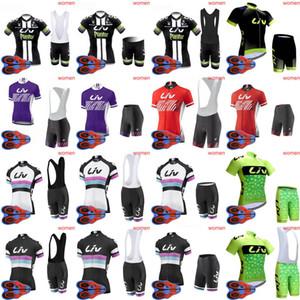 LIV 팀 자전거 짧은 소매 저지 (bib) 반바지 세트 여름 여성 자전거 야외 sportwear 로파 ciclismo D1714