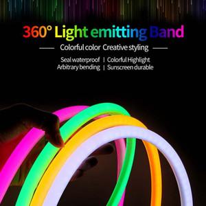 360 Grau de LED da luz de néon 220V 2835 120leds / m flexível de dois condutores de néon tira Luz 10m 20m 30m 50m 100m Corda fulgor exterior interna