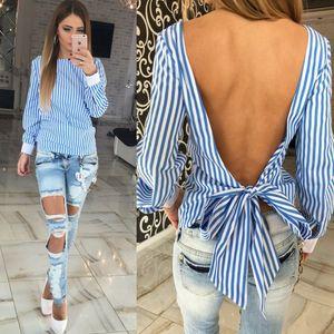 Женщины блузка рубашки повседневная вертикальные полосы назад лук выдалбливают лето отворот шеи свободные Европейский длинный рукав плюс размер S-3XL мода топы