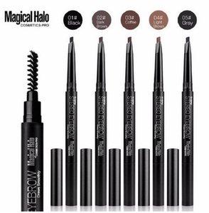 Büyülü Halo Kaş Kalemi Su Geçirmez Otomatik Kaş Kalemi Uzun ömürlü Makyaj Güzellik Araçları 5 Renk Göz Kahverengi Yüksek Kalite
