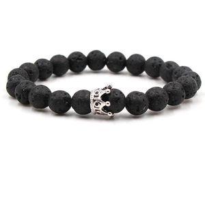 Moda 8mm Zircon Crown Lava Rock Braccialetti Black Beads Natural Stone Yoga Bracciali Braccialetti per regalo