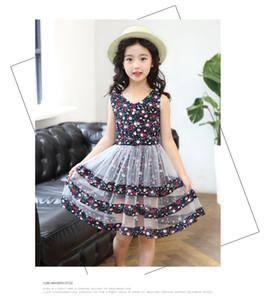 NEUHEITEN Mädchen kleidung Prinzessin Blumenkleider Kinder Boutique Kleidung Mädchen Kurzarm Brief Mesh Patchwork Print Kleider 2 Farbe
