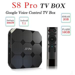 أحدث جوجل الروبوت التحكم الصوتي التلفزيون مربع S8 محترفين رباعية النواة 2GB 16GB AMLogic نوع S905w مع صوت الفأر الهواء مربع التلفزيون الذكية
