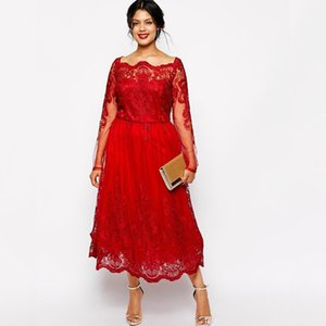 Encaje rojo Cuello barco Más el tamaño Vestido de la madre de la novia Largo manga del té Boda Vestido de fiesta de invitados Vestido Mae Da Noiva