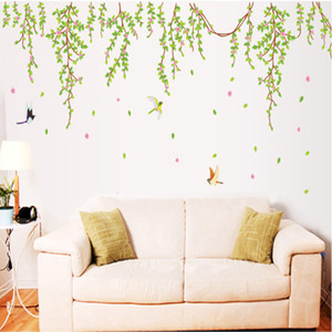 GRANDES hojas verdes flores de color rosa pájaros calcomanías de vinilo pegatinas de pared decoración de PVC extraíble DIY Home Art Wallpaper Room House Sticker