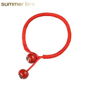 Femmes chanceux Bracelets Perle Rouge Chaîne Céramique Bracelets Bracelets Fait À La Main Pour Hommes Femmes Accessoires Amoureux Chanceux Bijoux
