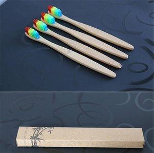 2018 Renkli Kafa Bambu Diş Fırçası Toptan Çevre Ahşap Gökkuşağı Bambu Diş Fırçası Ağız Bakımı Yumuşak Kıl