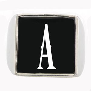 FANSSTEEL por encargo de acero inoxidable MENS WEMENS SIGNET nombrar las letras iniciales de joyería anillo alfabeto hermanos hermanas solo regalo lettes