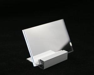 30 PCS 90 * 60mm Nom Nom Logo Logo Desk Sign Metal Photo Stand Carte d'affichage Carte Prix Cas d'aluminium Stand Table Cadre image Acrylique Fram Nikjt