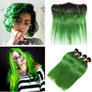 Dunkle Wurzeln Ombre Green Virgin Menschenhaar-Webart Bundles mit Frontals Straight 1B / Grün Ombre Brasilianisches Haar 4 Bundles mit Spitze Frontal 13 x 4