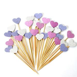 핸드 메이드 러블리 핑크 하트 컵케익 Toppers 케이크 파티 용품 생일 웨딩 파티 장식 120 Pieces / bag