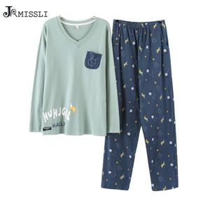 JRMISSLI Pyjamas Hommes Coton Sleepwea Manches Longues Pyjamas Hommes Sleep Lounge Pyjama Set Vêtements pour hommes Fashion U2117