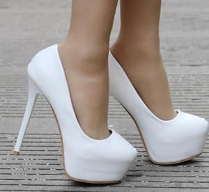 Bombas de Venda quente Marfim Sapatos de Salto Alto e Plataforma Dedo Do Pé Redondo À Prova D 'Água Sapatos de Noiva Simples Sapatos de Baile