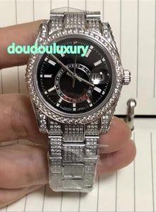 Silber gefror heraus Diamantuhrmänner der Luxuxarmbanduhr automatische mechanische Uhren schwarze Vorwahlknopf 36mm Art und Weiseluxusuhr geben Verschiffen frei